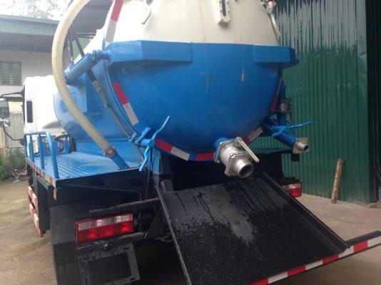 xe hút hầm cầu - chất thải lắp van DN100